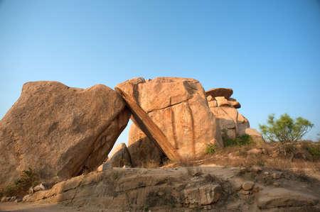 Big granite bolder,Hampi,Karnataka,India Stock Photo