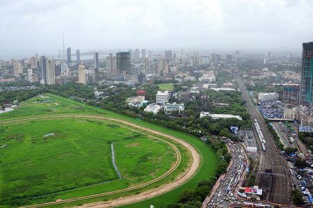aerial view of worli and lower parel with mahalaxmi race course,Bombay Mumbai,Maharashtra,India