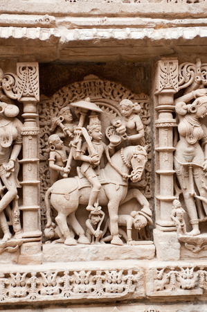 gods: Sculpture of kalki on the wall of queens step well,Patan,Gujarat,India