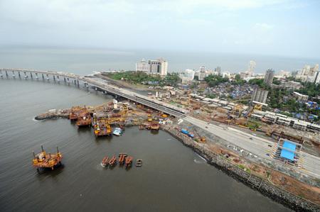 aerial view of bandra worli rajiv gandhi sea link from bandra reclamation,Bombay Mumbai,Maharashtra,India