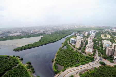 aerial view of bandra kurla complex and mithi river,Bombay Mumbai,Maharashtra,India Stock Photo