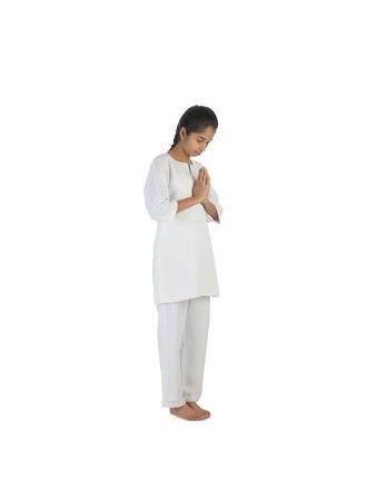 Girl practicing Namaskar asana