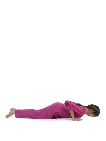 Girl practicing ashtang Namaskar asana
