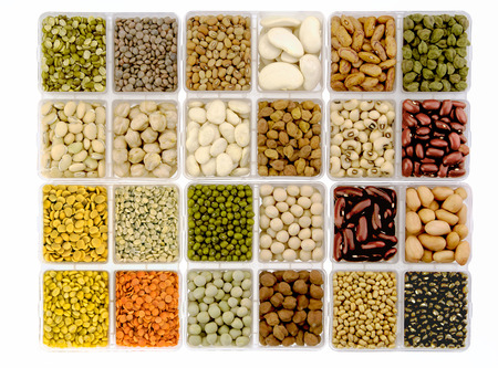 Lentils pulses and beans in square dish,India