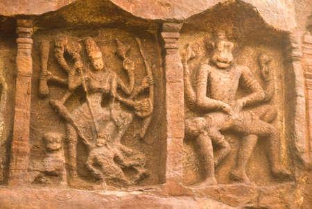 gods: Statues of god narsimha and goddess durga at Bhutanatha temple,Badami,Bagalkot,Karnataka,India LANG_EVOIMAGES