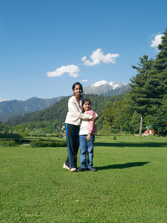 Girl hugging sister,Indira gandhi park,Pahalgam,Jammu and Kashmir,India