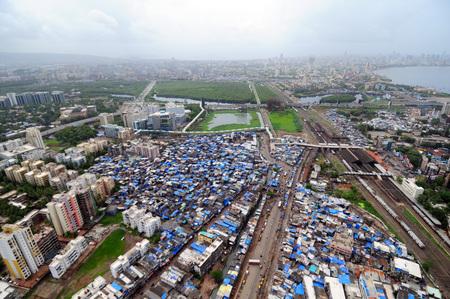 aerial view of bandra station,Bombay Mumbai,Maharashtra,India