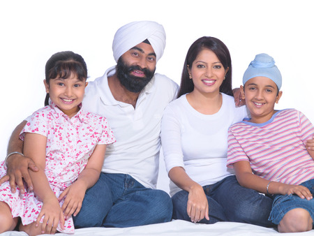 Sikh parents with children