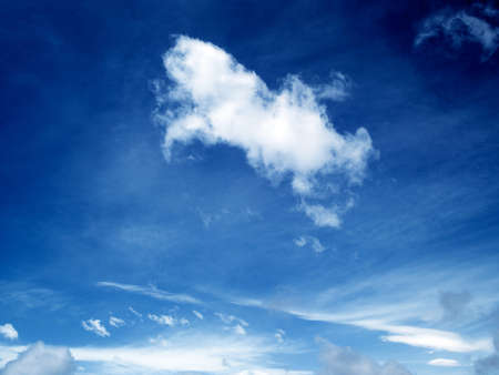 atmosphere: White cloud formation against blue skies