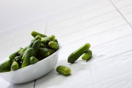 Cucumbers in bowl Stock fotó