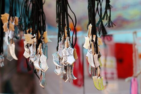 Gift items representing Sikhism outside Nanded Gurudwara Maharashtra India