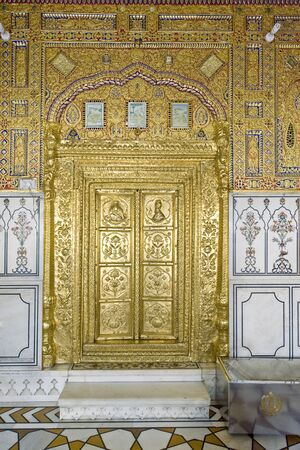 Gold plated Door Sikhism Gurudwara Hazoor Sahib sachkhand Nanded Maharashtra India Stock Photo