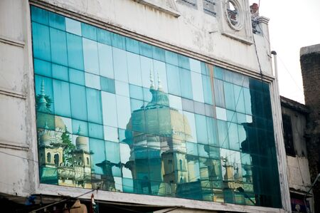 Reflection of mosque charminar hyderabad Andhra Pradesh India