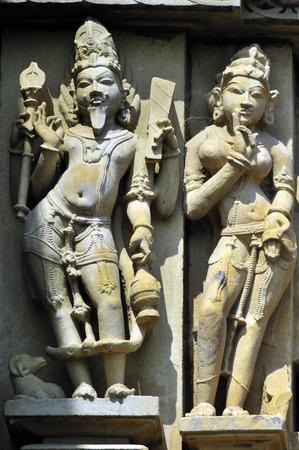 gods: Agni god sculpture on wall of vishvanath temple Khajuraho madhya pradesh india