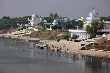 Ghats of Godavari River with Gurudwaras on the sides Nanded Maharashtra India