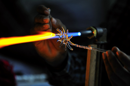 Glass Handicraft Surat Gujarat India Asia Dec 2010 Stock Photo