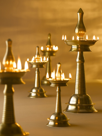 Brass lamps decoration during diwali festival ; India Stockfoto
