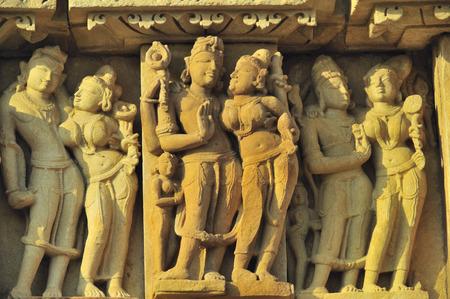 Shiva parvati sculpture on wall of parsvanatha temple Khajuraho madhya pradesh india Stock Photo