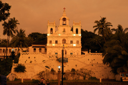 The Church of the Lady during sunset Panjim Goa Maharashtra India Asia  September 2010