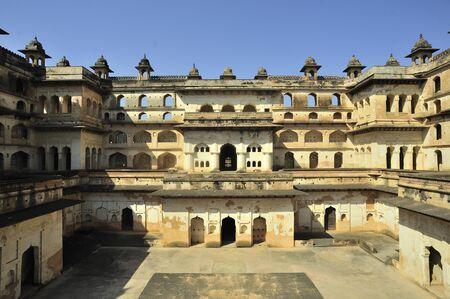 Orchha central courtyard of raja mahal khajuraho madhya pradesh india Stock Photo