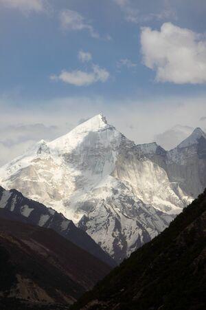 Snow covered mountain Gangotri Uttarakhand India  Asia