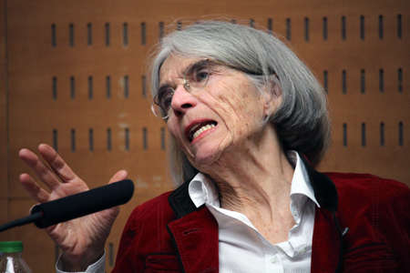 youth crime: BARCELONASPAIN - FEBRUARY 04 2016: American best-selling crime novels writer Donna Leon at the press conference of the 2016 prize Pepe Carvalho. The author won the prize for her last book The waters of eternal youth, Which is the twenty fifth book of th