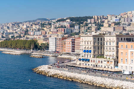Naples, Italy, October 2019: Partenope Street in the Naples Bay. Seafront view from the egg castle, Castel dell'ovo, Naples, Italy. High quality photo