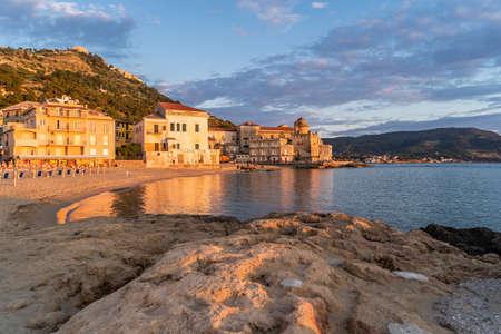 Scenic Beach of Marina Piccola at Sunset in Santa Maria di Castellabate, Cilento Coast, Campania, Italy. Archivio Fotografico