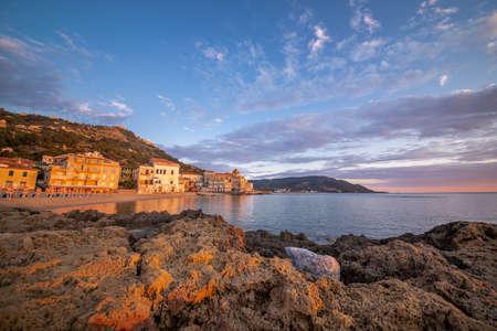 Scenic Beach of Marina Piccola at Sunset in Santa Maria di Castellabate, Cilento Coast, Campania, Italy.