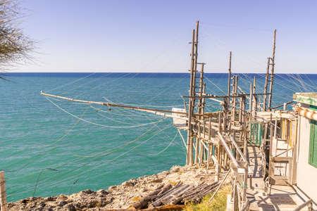 Trabucco of Furcichella, Characteristic wooden fishing house on the adriatic coast of Italy, Peschici, Gargano
