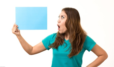 agape: Woman holding a blank card