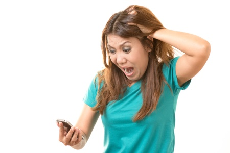 frantic: Woman shocked from the mobile