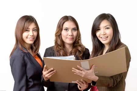participatory: Employees open the file Stock Photo