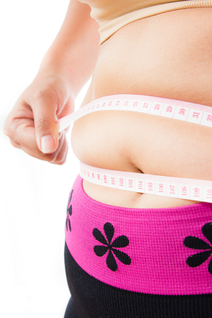 chubby woman: asian woman body with measuring tape isolated in white