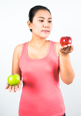 asian woman with apple photo