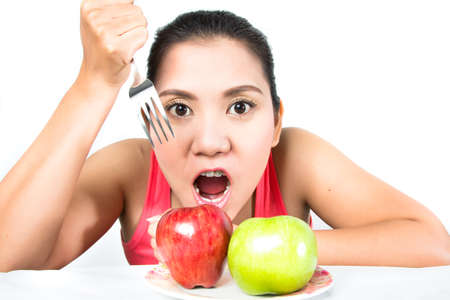 asian woman with two apple photo