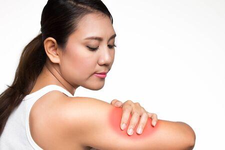 bruised: Asian woman having arm pain