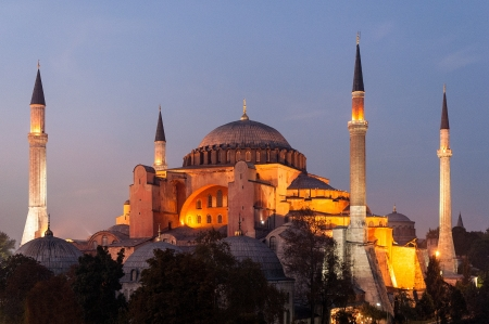 Hagia Sophia, a former Orthodox patriarchal basilica, later a mosque and now a museum in Istanbul at sunset