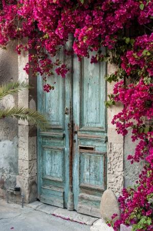 puertas antiguas: Puerta de madera vieja con buganvillas en Chipre