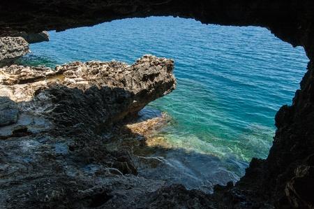 Small sea cave near Kavo Greco  Cape Greco  in Cyprus Stock Photo