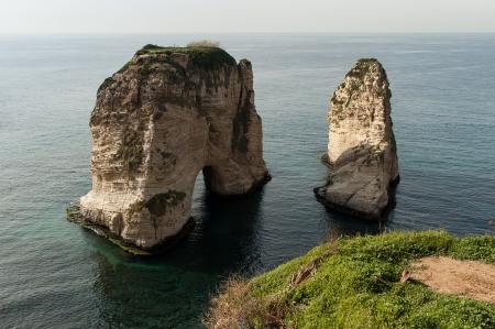 beirut lebanon: The popular Pigeon Rocks in Beirut, Lebanon