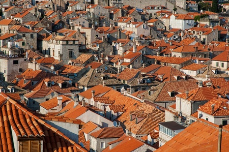 Dubrovnik Old Town roofs at sunset Stock Photo