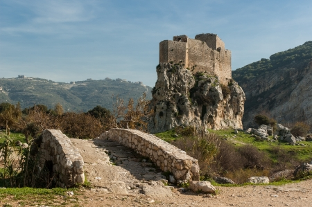The Mussaylaha Castle and its litlle stone bridge in Lebanon Stock Photo - 17299475