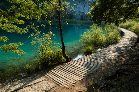 A path for tourists in Plitvice Lakes National Park, Croatia Stock Photo
