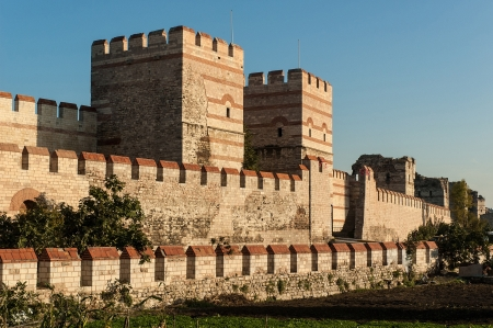 City walls of Istanbul after partial restoration photo