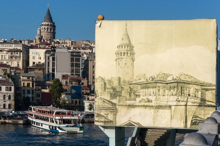 Istanbul, Turkey - October 26, 2005: Galata Tower, now and then. Galata Tower is a landmark of Beyoglu district, the more European section of Istanbul, enjoying nowadays an architectural revival.