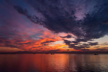 Spectacular sunset in the sea  Stock Photo