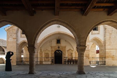 Omodos, Cyprus - October 31, 2007: The Holy Cross Monastery