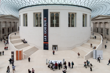 London, UK - April 29, 2007: People visit the British Museum. The Museum houses over 7 million objects relating to human history & culture from around the world. Stock Photo - 17356009