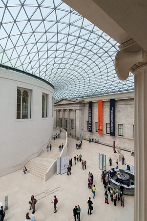 London, UK - April 29, 2007: People visit the British Museum. The Museum houses over 7 million objects relating to human history & culture from around the world.